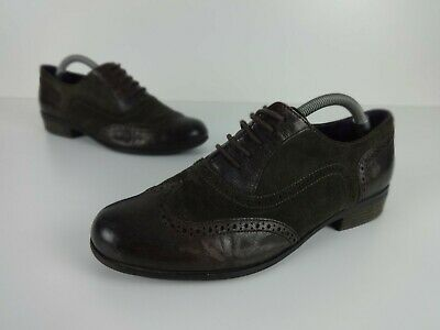 Ladies Clarks Size 6 Brogues Softwear Plum & Dark Brown Leather Suede Lace Up