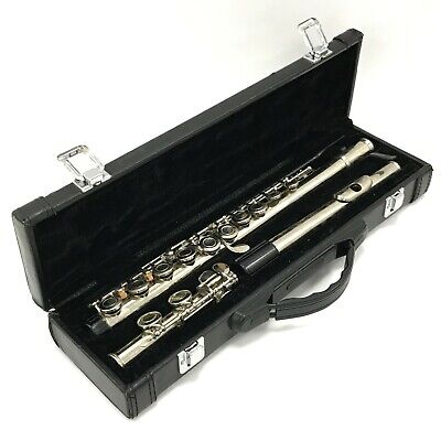 FF Silver Metal Flute Classical Student Wind Instrument & Carry Case TH431248