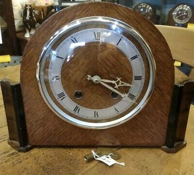 Art deco mantle clock, 8 day balance wheel movement, Ting tang striking.