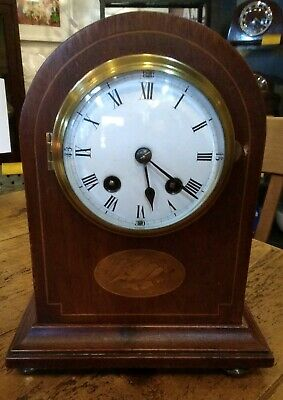 Edwardian mantle clock, eight day pendulum movement, strikes on a gong