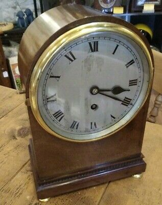 Antique Edwardian mantle clock, timepiece only. Eight day, English movement