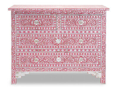 Mother of Pearl inlay 4 Drawer chest of Drawer Pink