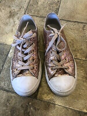 Rose Gold Glitter Converse All Star Trainers Size UK 3 Junior EUR Size 35.5