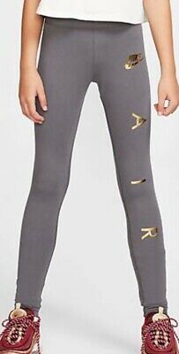 Nike Air Leggings Girls Age 12-13 Years (Nike Girls Size L) Grey/Gold RRP 21.95