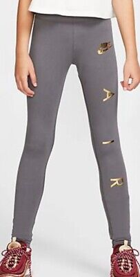 Nike Air Leggings Girls Age 10-12 Years (Nike Girls Size M) Grey/Gold RRP 21.95