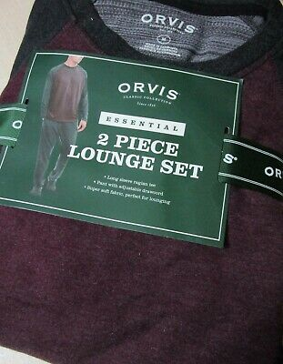 ORVIS Mens 2-Piece Essential Lounge Wear Set PJ's Soft Fleece Maroon S M L XL
