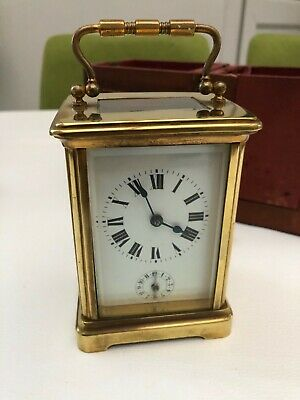 Antique French 8 Day Carriage Clock Alarm French Mantel Clock & Travel Case