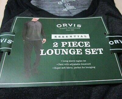 ORVIS Mens 2-Piece Essential Lounge Wear Set PJ's Soft Fleece Black L XL XXL