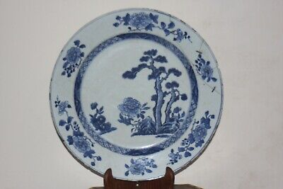Chinese 18Th Century Blue And White Large Porcelain Dish Qianlong Period