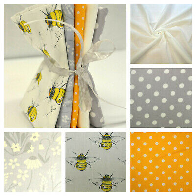 Bumble Bee Fabric Fat Quarter Bundle 100% Cotton Sewing Yellow Craft Quilting