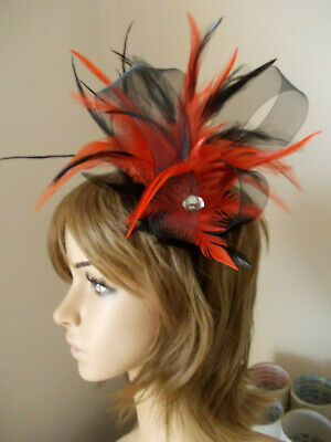 Black Orange Fascinator feathers diamante headband alice