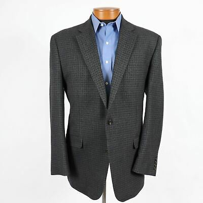 Chaps Mens 46L Blue Gray Houndstooth Wool 2 Button Blazer Sport Coat Jacket 442