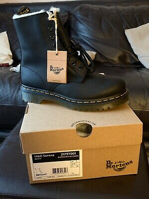 DR MARTENS 1460 SERENA BOOTS - Fur Lined - Black Leather - Size UK 5 - NEW