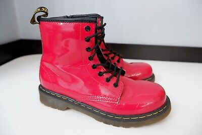Dr Martens DMs Girls Boots, Uk 2, Eu34, Red Patent Leather, VGC