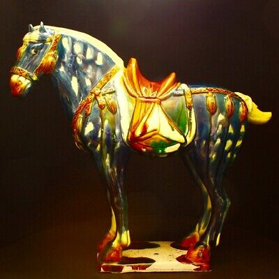 20th C Chinese  Ceramic Tri-Color Glazed Pottery Tang Dynasty War Horse Statue