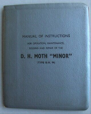 "DE HAVILLAND MOTH ""MINOR"" TYPE DH 94  AERO ENGINES MANUAL INSTRUCTIONS c1937"