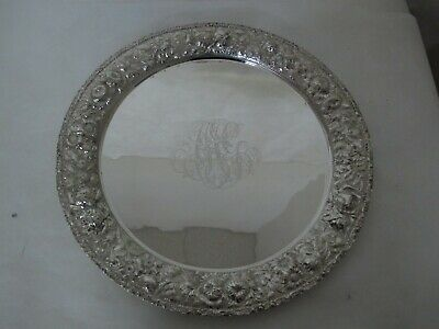 """c.1900 MASSIVE ROUND STIEFF STERLING SILVER REPOUSSE TRAY 20"""""""