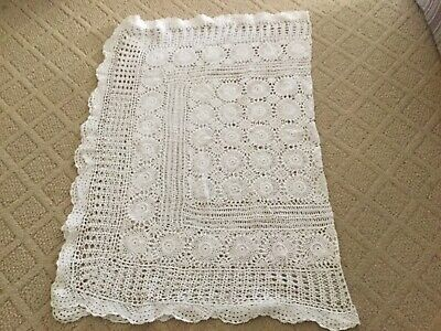 Vintage hand crocheted tablecloth 54x45 white