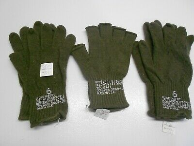 3 Pair XXL Olive Drab Green Wool Glove Liners Made In USA-1 Pair Fingerless