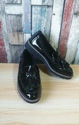 Ex M/&S Women/'s Leather Tassel Ankle Boat Shoes Black RRP £59 #8570