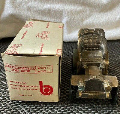 Vintage  1974 Banthrico 1906 Oldsmobile Car Coin Bank With Box