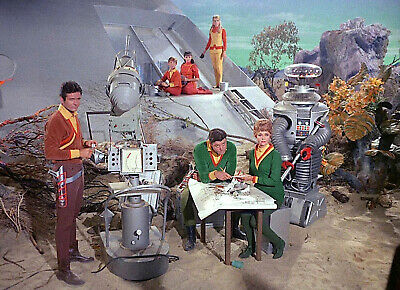 1965's LOST IN SPACE landing site full cast gathering color 7x10 portrait