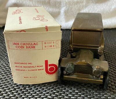 Vintage Brass 1908 Cadillac Car Coin Bank Banthrico inc Chicago With Box