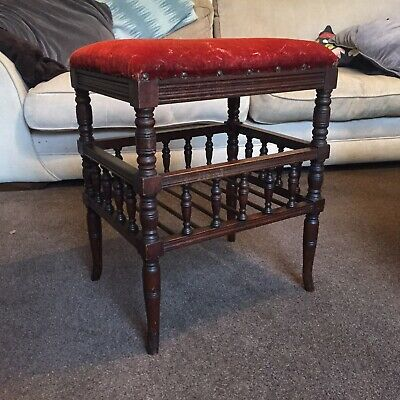 Victorian Oak Piano Stool, Red Velvet Seat.  Vintage / Antique