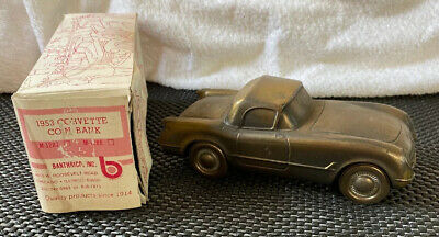 Vintage BANTHRICO 1953 CHEVROLET CORVETTE Brass Plated Coin Bank With Box