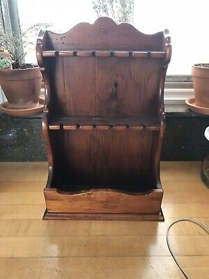 Ethan Allen Dark Antiqued Pine Old Tavern Spoon Rack Planter Wall Shelf