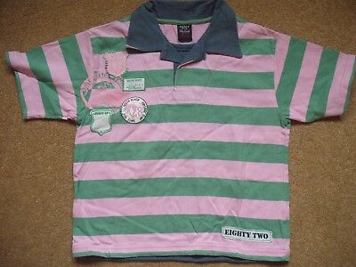 Boys Next polo shirt pink and green stripe age 5