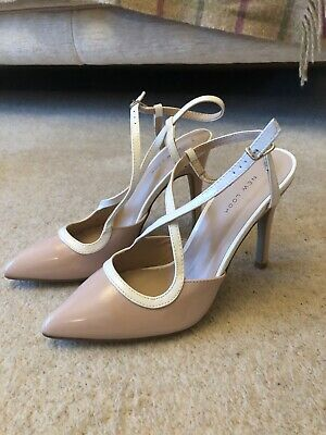 NEW Look Ladies Shoes Size 7 Nude Patent Sling Back Heels Never Worn