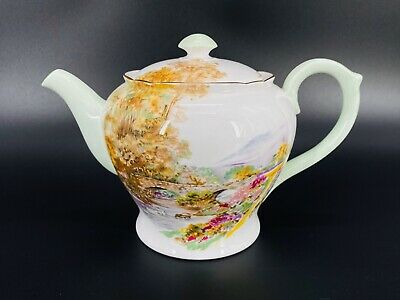 Shelley Heather Teapot Bone China England