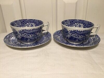 Two Spode Blue Italian cups and saucers. Excellent condition.