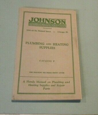 1928 Johnson Plumbing and Heating Supply Company Catalog + Inserts Chicago IL