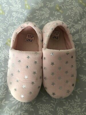 Girls Pink Star Slippers - Size 1-2 VGC