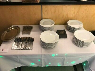 Bulk Catering Restaurant White Matching Dinner Plates, Sides Plates and Bowls