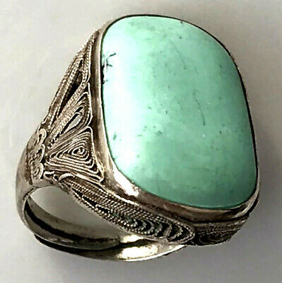 Antique Art Deco Chinese Silver Carved Turquoise Filigree Adjustable Ring