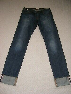 Calvin Klein Dark Blue with Fade Distressed Straight Leg Womens Jeans Size W: 28