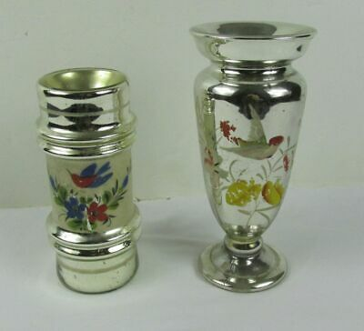 Antique Victorian Silver MERCURY Glass VASES Flowers Hand Painted 1800s 2 pieces