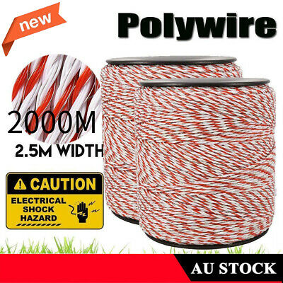 2000m Polywire Roll Electric Fence Energiser Stainless Poly Rope Insulator AU