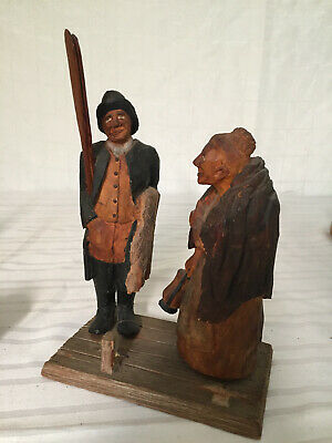 Vintage Wood Carved Fisherman & Wife - TRYGG style