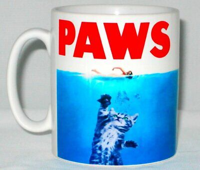 Paws Mug Can Be Personalised Funny Jaws Poster Cat Kitten Animal Lover Gift Cup