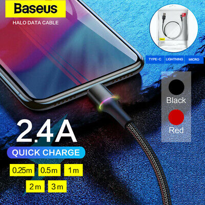 Genuine Baseus Halo Data Sync Cable LED Fast Charging USB Lightning Type-C Micro