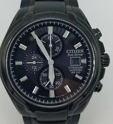 Citizen Eco-Drive Mens Black Finish Chronograph Watch *Great Condition*