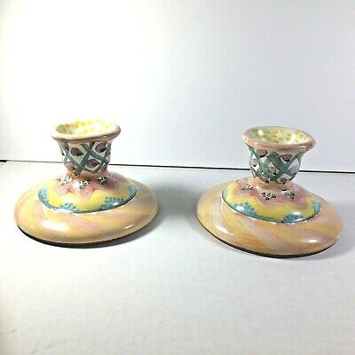 Mackenzie - Childs Small Candle Stick Holders Pair