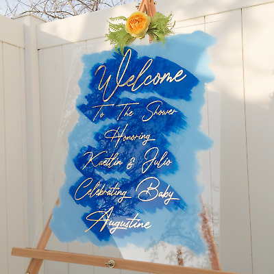 Large Clear Acrylic Welcome Sign Board Custom Handmade Made USA Free Delivery