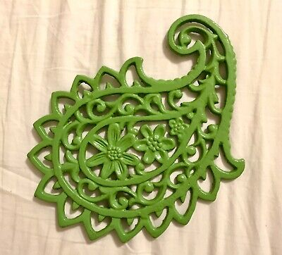 Cast Iron Painted Green Paisley Trivet For Hot Pans & Country Decor