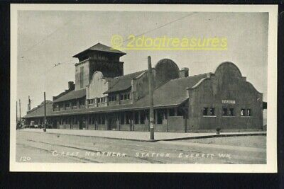 Great Northern Rr Railroad Train Station Everett Wa Washington Old