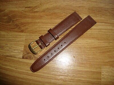 Mens CONDOR Vintage NOS 16mm Brown Leather Watch Strap, 14mm Goldtone Buckle